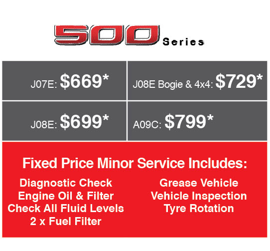Fixed Price Servicing on 500 Series Hino